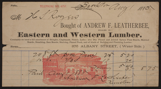 Billhead for Andrew F. Leatherbee, eastern and western lumber, 376 Albany Street, Boston, Mass., dated August 1, 1885
