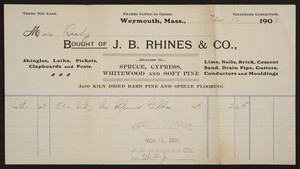 Billhead for J.B. Rhines & Co., lumber, Weymouth, Mass., dated 1903