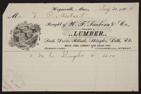 Billhead for W.F. Sanborn & Co., lumber, Commercial Street, Weymouth, Mass., dated August 30, 1904