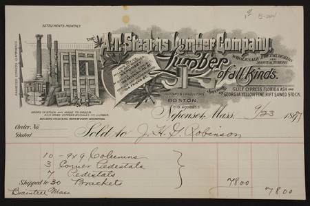 Billhead for A.T. Stearns Lumber Company, lumber of all kinds, Neponset, Mass., dated September 23, 1897