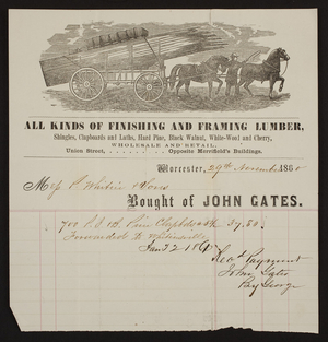 Billhead for John Gates, finishing and framing lumber, Union Street, Worcester, Mass., dated November 29, 1860