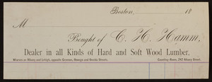 Billhead for C. H. Hamm, hard and soft wood lumber, 242 Albany Street, Boston, Mass., undated