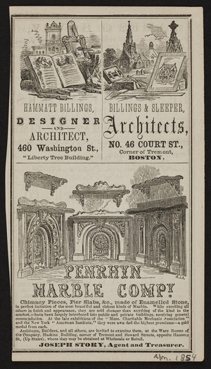 Advertisement for architects, Boston, Mass., 1854