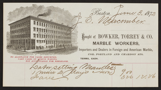 Billhead for Bowker, Torrey & Co., marble workers, corner Portland and Chardon Streets, Boston, Mass., dated June 3, 1872,