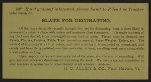 Trade card for H. O. Allen & Co., slate for decorating, Fair Haven, Vermont, undated