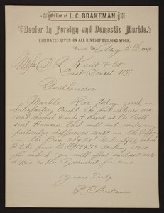 Letterhead for L.C. Brakeman, foreign and domestic marble, Corinth, Mississippi, dated August 5, 1889