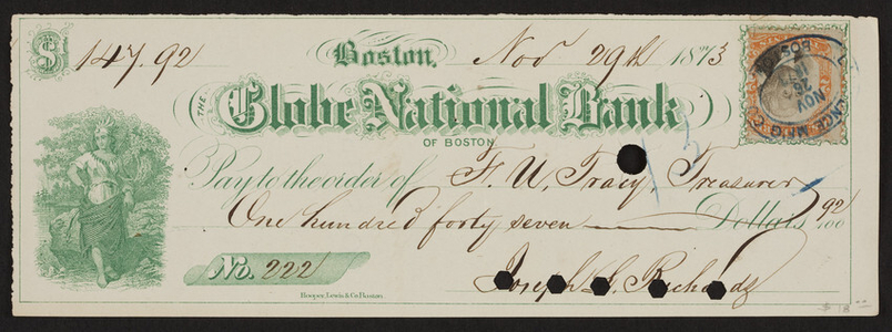 Check for The Globe National Bank of Boston, Boston, Mass., dated November 29, 1873