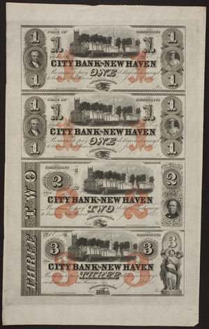 City Bank of New Haven promissory notes, New Haven, Connecticut, July 1865