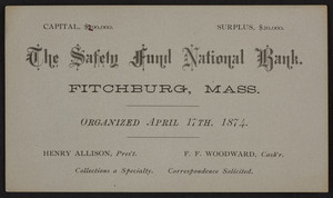 Trade card for The Safety Fund National Bank, Fitchburg, Mass., 1874