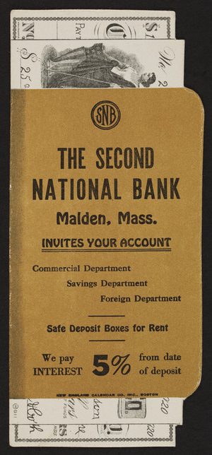 Trade card for The Second National Bank, Malden, Mass., undated