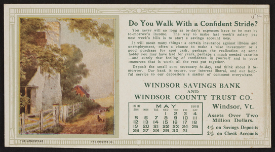 Trade card for Windsor Savings Bank and Windsor County Trust Co., Windsor, Vermont, May 1918