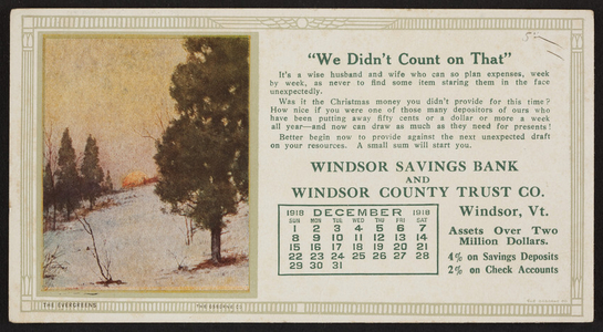 Trade card for Windsor Savings Bank and Windsor County Trust Co., Windsor, Vermont, December 1918