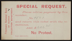 Special request payment ticket, Freeman's National Bank of Boston, Boston, Mass., undated