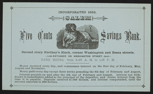 Trade card for the Five Cents Savings Bank, corner Washington and Essex Streets, Salem, Mass., January 6, 1880