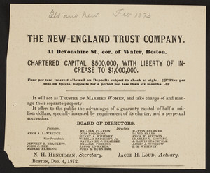 Advertisement for The New-England Trust Company, 41 Devonshire Street, corner of Water, Boston, Mass., December 4, 1872