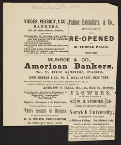 Kidder, Peabody & Co., bankers, No. 40 State Street and Munroe & Co., American bankers, No.114 Milk Street, Boston, Mass., 1873