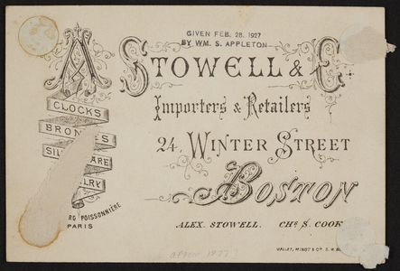 Trade card for A. Stowell & C., importers and retailers, 24 Winter Street, Boston, Mass., undated