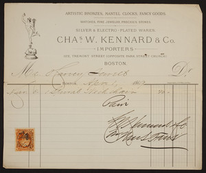 Billhead for Chas W. Kennard & Co., importers, 122 Tremont Street, Boston, Mass., dated April 1, 1869