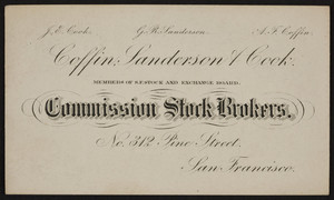 Coffin Sanderson & Cook, comission stock brokers, 312 Pine Street, San Francisco, California, undated