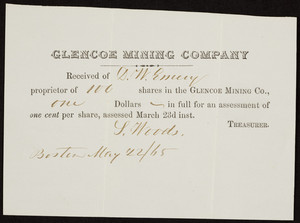 Stock certificate for the Glencoe Mining Company, Boston, Mass., dated May 22, 1865