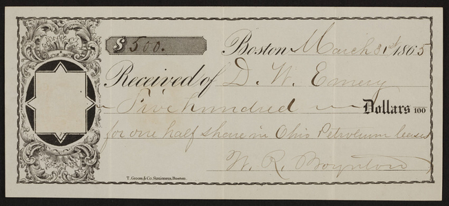 Stock certificate for Ohio Petroleum leases, Boston, Mass., dated March 31, 1865