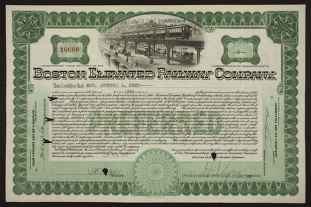 Stock certificate for the Boston Elevated Railway Company, Old Colony Trust Company, Boston, Mass., dated September 28, 1927