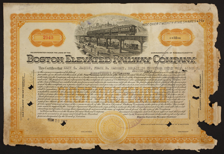 Stock certificate for the Boston Elevated Railway Company, Old Colony Trust Company, Boston, Mass., dated June 20, 1922