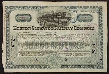 Stock certificate for the Boston Elevated Railway Company, Old Colony Trust Company, Boston, Mass., dated June 14, 1922