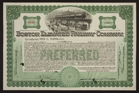 Stock certificate for the Boston Elevated Railway Company, Old Colony Trust Company, Boston, Mass., dated May 1, 1924