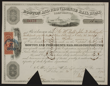 Stock certificate for the Boston and Providence Rail Road Corporation, Boston, Mass., dated May 31, 1872