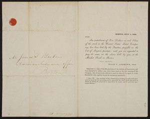 Payment notification from the United States Land Company, Boston, Mass., dated July 1, 1838