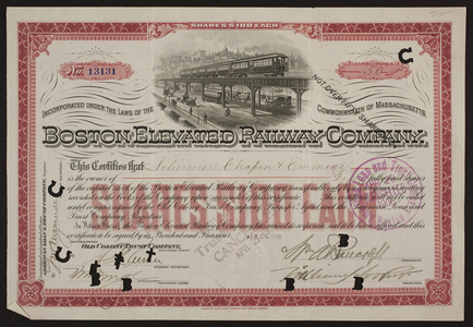 Stock certificate for the Boston Elevated Railway Company, American Loan & Trust Company, Boston, Mass., dated April 24, 1906