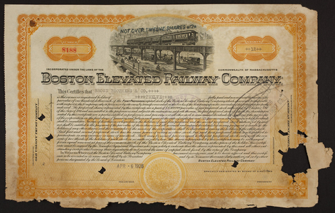 Stock certificate for the Boston Elevated Railway Company, Old Colony Trust Company, Boston, Mass., dated April 6, 1926