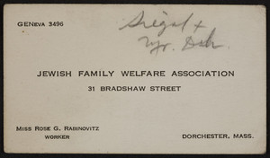 Business card for the Jewish Family Welfare Association, 31 Bradshaw Street, Dorchester, Mass., 1920-1940