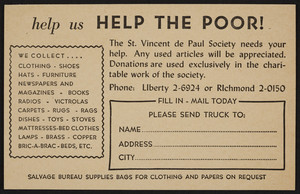 Postcard for The St. Vincent de Paul Society, 1280 Washington Street, Boston, Mass., undated