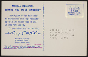 Postcard for the Morgan Memorial, 95 Berkeley Street, Boston, Mass., undated