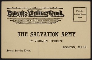 Postcard for The Salvation Army, 87 Vernon Street, Boston, Mass., undated