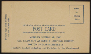 Postcard for the Morgan Memorial, Inc., corner Shawmut Avenue & Corning Street, Boston, Mass., undated