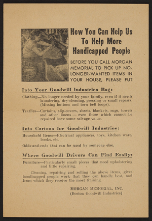 How you can help us to help more handicapped people, Morgan Memorial, Inc., Boston, Mass., undated