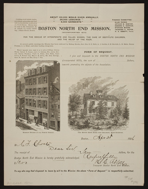 Letterhead for the Boston North End Mission, 201-205 North Street, Boston, Mass., dated April 28, 1896