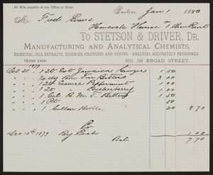 Billhead for Stetson & Driver, Dr., manufacturing and analytical chemists, No.59 Broad Street, Boston, Mass., dated January 1, 1880