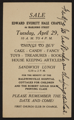 Postcard for the benefit sale at the Edward Everett Hale Chapel, 64 Marlboro Street, Boston, Mass., April 29, 1930