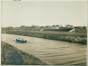 Athletic grounds and stadium from the river, West Somerville, Mass., undated