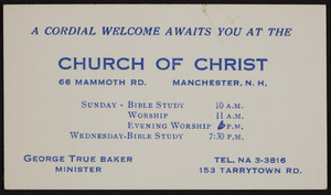 Business card for the Church of Christ, 66 Mammoth Road, Manchester, New Hampshire, undated