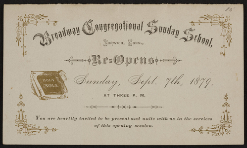Broadway Congregational Sunday School, Norwich, Connecticut, Sunday, September 7, 1879
