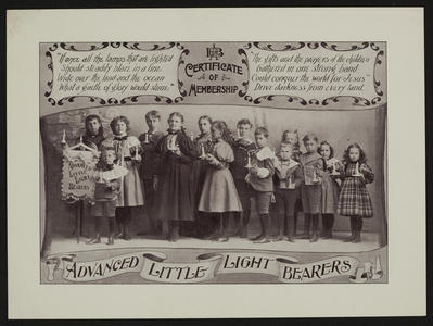 Membership certificate for the Advanced Little Light Bearers, New England Branch of the Woman's Foreign Missionary Society of the Methodist Episcopal Church, 21 Lagrange Street, Worcester, Mass., undated