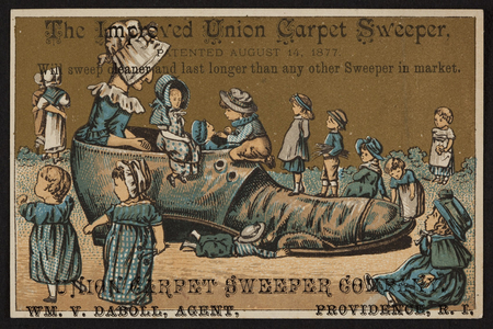 Trade card for The Improved Union Carpet Sweeper, Union Carpet Sweeper Company, Providence, Rhode Island, ca.1877
