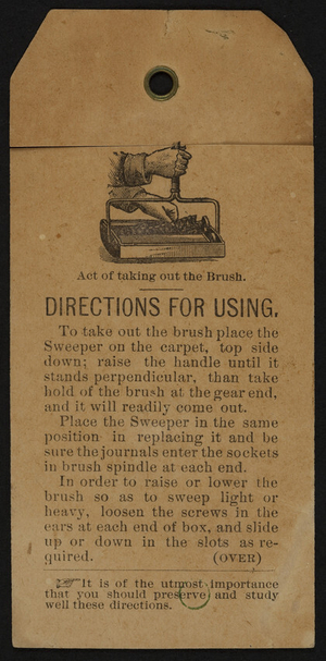 Directions for using a carpet sweeper, location unknown, undated