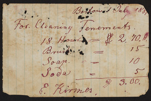 Receipt for cleaning tenements, E. Kirmes, Boston, Mass., dated July 1881