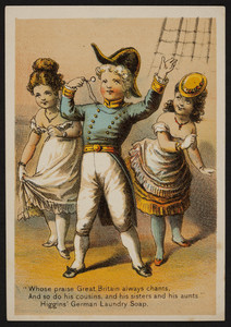 Trade cards for Higgins' German Laundry, Chas. S. Higgins, 94 Wall Street, New York, New York, 1880